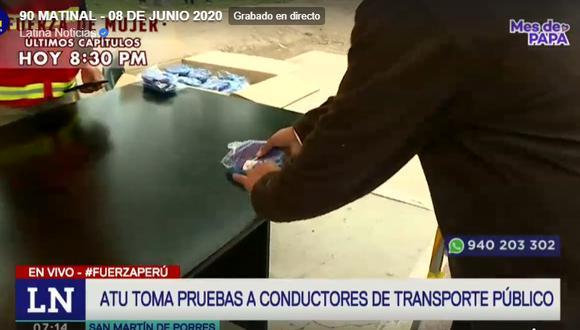 La ATU informó que entregará mascarillas faciales a más de 100.000 conductores hasta el 30 de junio en 14 puntos de Lima y Callao. (Foto captura: Latina)