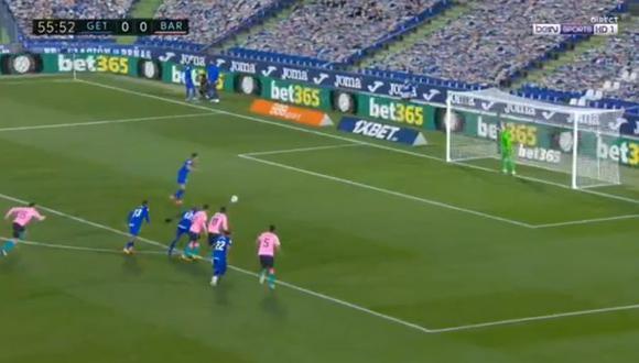 Jaime Mata anotó el 1-0 a favor de Getafe sobre Barcelona con gran definición desde el punto del penal, por la jornada 6 de la Liga española. (Foto: captura de video)