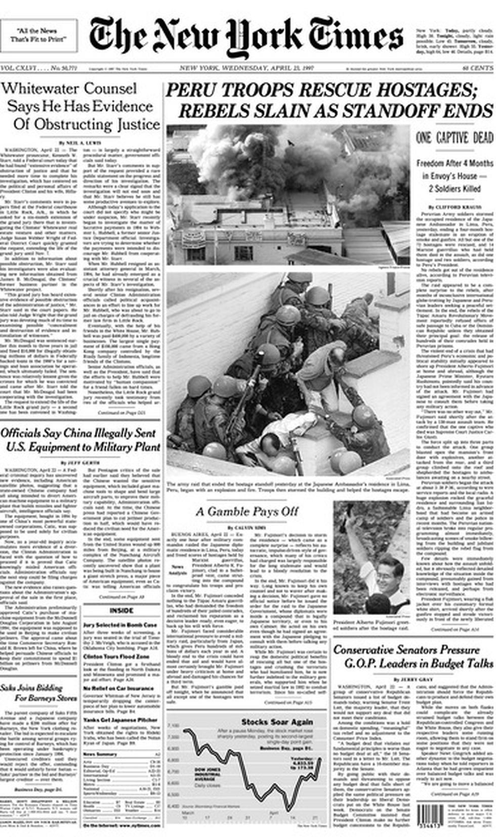 Portada de The New York Times de Estados Unidos.
