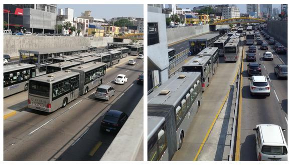 Esta mañana se reportó una larga fila de buses del Metropolitano tras desperfecto de una unidad en la estación Angamos. (Foto:@janoxvill/@josecabieses)
