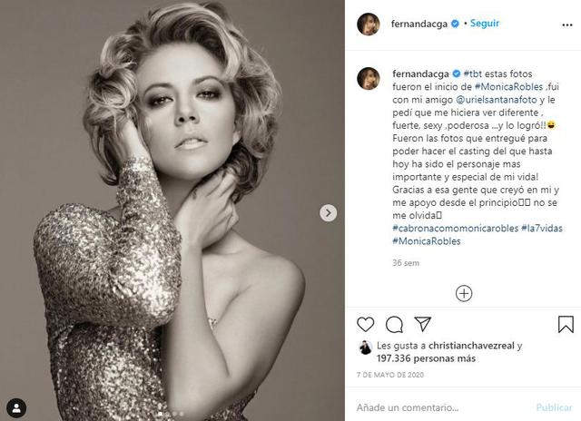 Fernanda Castillo has said that 'Mónica Robles' is the most important character of her career and has a lot of affection for her (Photo: Instagram / Fernanda Castell)