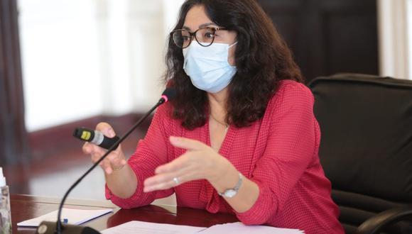 Violeta Bermúdez aseguró en conferencia de prensa que el Perú adquirió las vacunas de Sinopharm tomando en cuenta estudios internacionales sobre su eficacia contra el COVID-19 | Foto: PCM