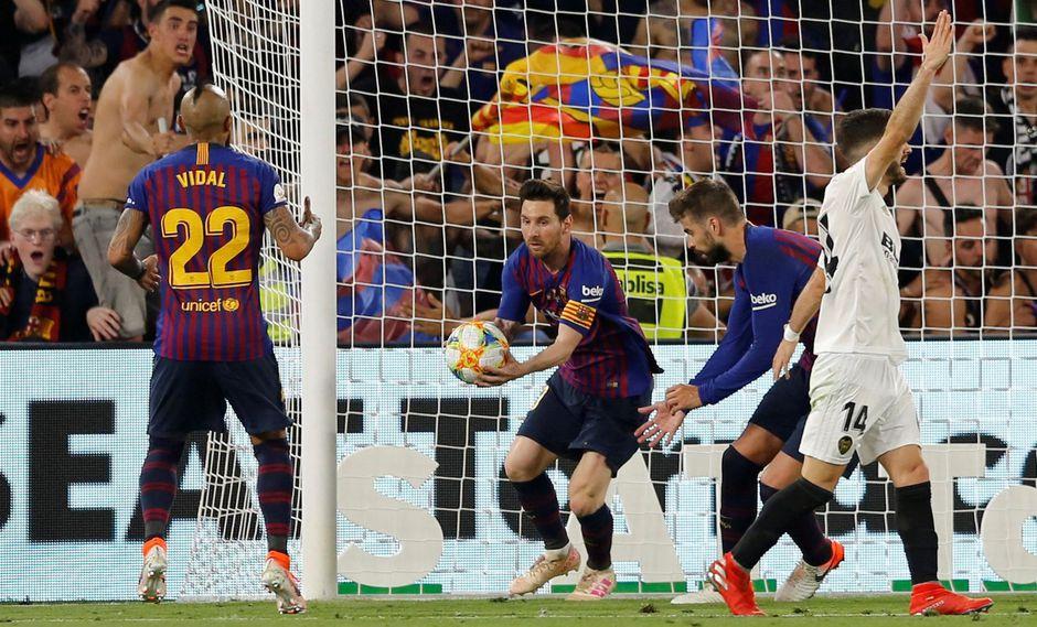 Barcelona vs. Valencia: Lionel Messi descontó 2-1 tras atajadón de Doménech por Copa del Rey   VIDEO. (Foto: AFP)