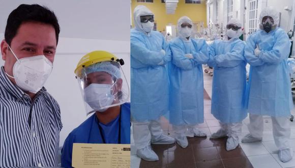 El médico Josef Vallejos, jefe de la Unidad de Cuidados Intensivos (UCI) y Cuidados Intermedios del Hospital Arzobispo Loayza, recibió la primera dosis de vacuna aplicada en el país. En la primera foto, junto a la enfermera que lo vacunó. Al lado, el equipo de UCI del hospital Loayza durante sus jornadas de trabajo.