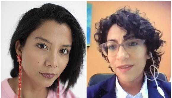 La viceministra de Cultura Leslie Urteaga (derecha) defendió la entrega de S/.75 mil como premio a la actriz Mayra Couto. (Foto: El Comercio/@MinCulturaPe).