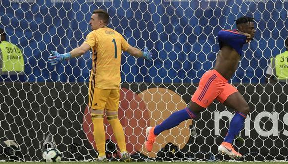 Roger Martínez de tremendo zapatazo desde la frontal (71') y Duván Zapata, con un remate a bocajarro (86') aguaron el estreno de Argentina y le dieron a Colombia sus primeros tres puntos en la Copa América Brasil 2019. (Foto: AFP)