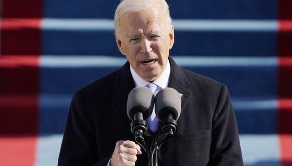 Tras jurar al cargo, Joe Biden ofreció el miércoles 20 de enero su primer discurso como nuevo presidente de Estados Unidos (Patrick Semansky / POOL / AFP).