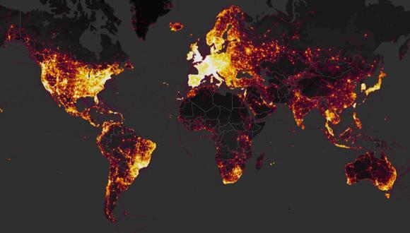 (Captura de Strava Global Heatmap)