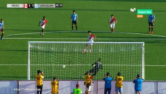Perú vs. Uruguay EN VIVO: Óscar Pinto y el 1-1 desde los doce pasos que le da vida al cuadro local | Foto: Captura
