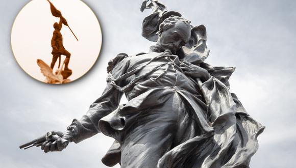 Detalle del Francisco Bolognesi del escultor Querol, exhibido actualmente en el Real Felipe en el Callao. La Municipalidad de Lima busca busca devolverle su antigua prestancia para el Día de la Bandera del 2021. En la esquina superior izquierda, la estatua con la que fue reemplazada en 1954. (FOTOS: Prolima/ El Comercio).