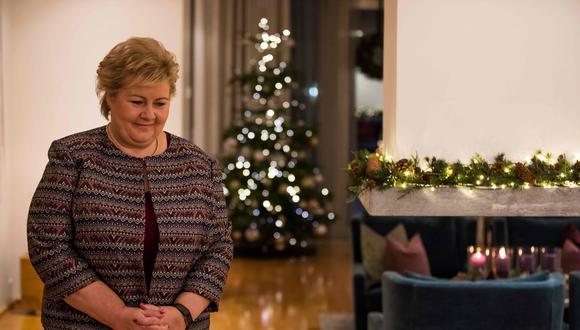 Erna Solberg, la primera ministra de Noruega. AFP