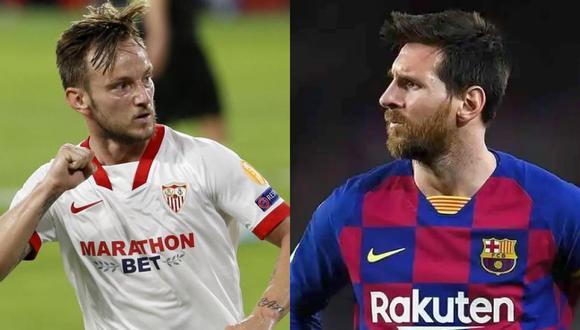 Ivan Rakitic y Lionel Messi volvieron a coincidir en un campo de juego en las semifinales de la Copa del Rey, en la que Barcelona eliminó al Sevilla.  (Fotos: EFE)