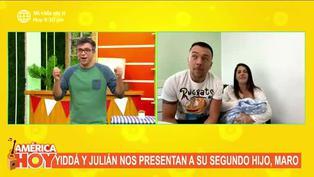 Julián Zucchi y Yiddá Eslava presentaron en televisión a Maro, su segundo hijo