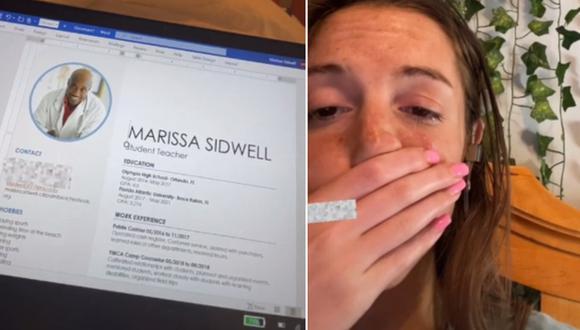 Luego de enviar su CV para un puesto de trabajo, se dio cuenta que el documento tenía una foto que no era suya. (Foto: @marissasid21 / TikTok)