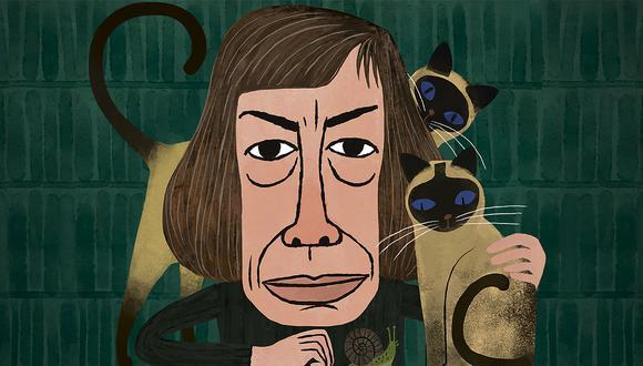 La escritora estadounidense Patricia Highsmith llegó a tener seis gatos y 300 caracoles. (Ilustración: Víctor Aguilar)