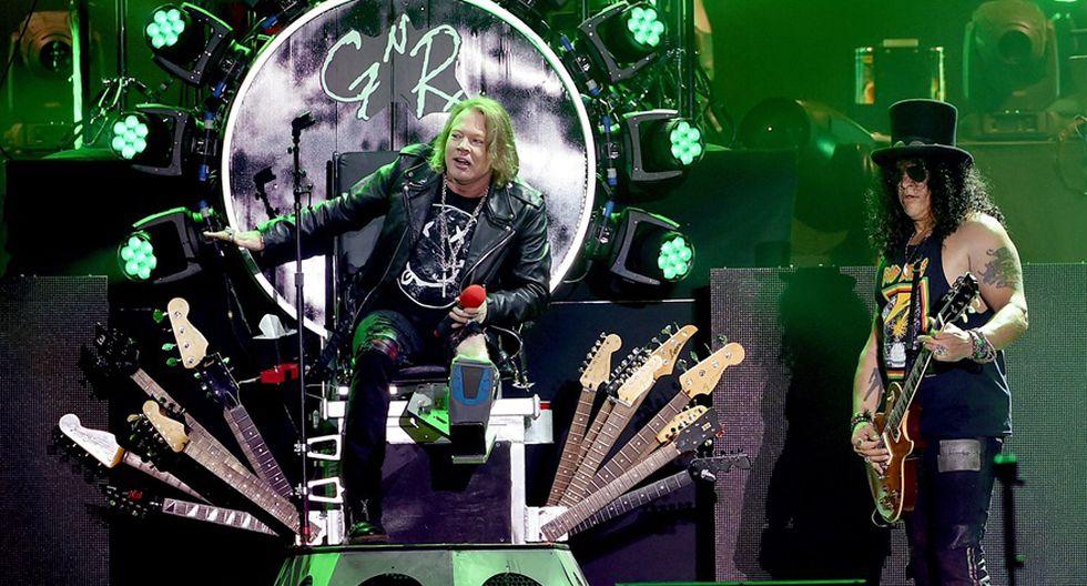 Axl Rose y Slash durante presentación de reencuentro de los Guns N' Roses en el Festival de Coachella, en 2016. (Foto: AFP)
