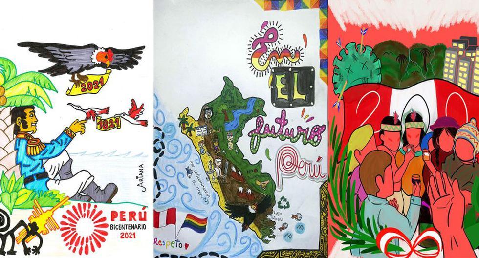 De izquierda a derecha, los dibujos de Ariana Cielo Calderón Javier, Ariadna Arancel Macazana, Ana Lucía Olavarría Bendezú. Mira los 50 mejores trabajos aquí.