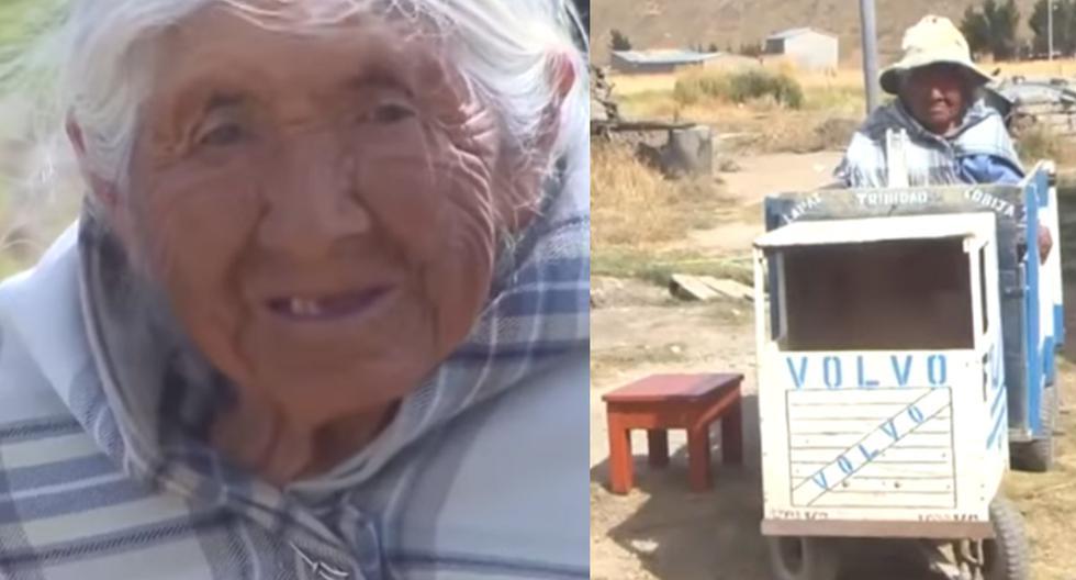 La abuelita de 94 años se ha convertido en viral y conmovido a millones de usuarios en redes sociales.| Foto: UNITEL/YouTube
