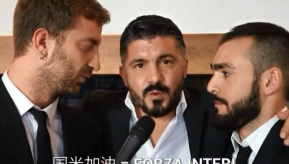 """Gennaro Gattuso se volvió viral en YouTube luego de decir: """"Fuerza Inter"""". (Foto: Captura de YouTube)"""