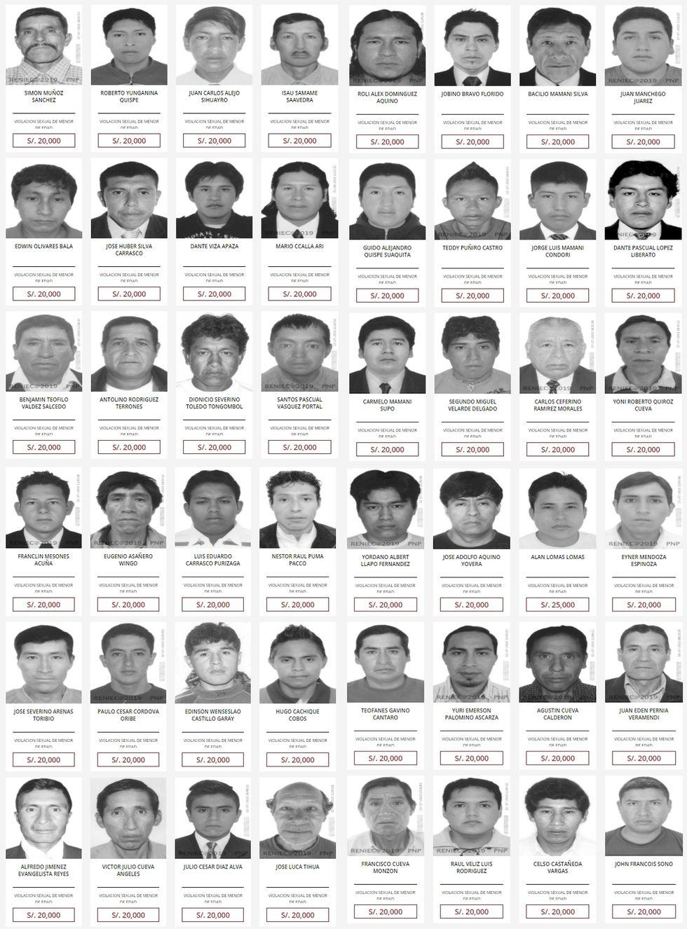 Estos son las personas que se encuentran buscadas por el delito de violación sexual. El monto de recompensa se encuentra entre los 20 y 25 mil soles. (Imagen: recompensas.pe)