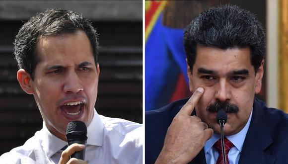 """El juez Stephen Phillips observó que """"es muy extraño"""" que se pida a la corte que reconozca a Guaidó como """"presidente constitucional"""" y al mismo tiempo se le incite a ignorar los fallos del Tribunal Supremo de Caracas. En la imagen, Juan Guaidó y Nicolás Maduro. (Foto: Yuri CORTEZ / AFP)."""