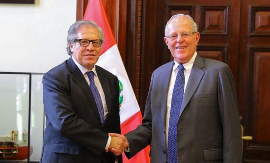 Luis Almagro se reunirá con el presidente Pedro Pablo Kuczynski (PPK) y otras autoridades este viernes en Lima. (Foto: OEA)