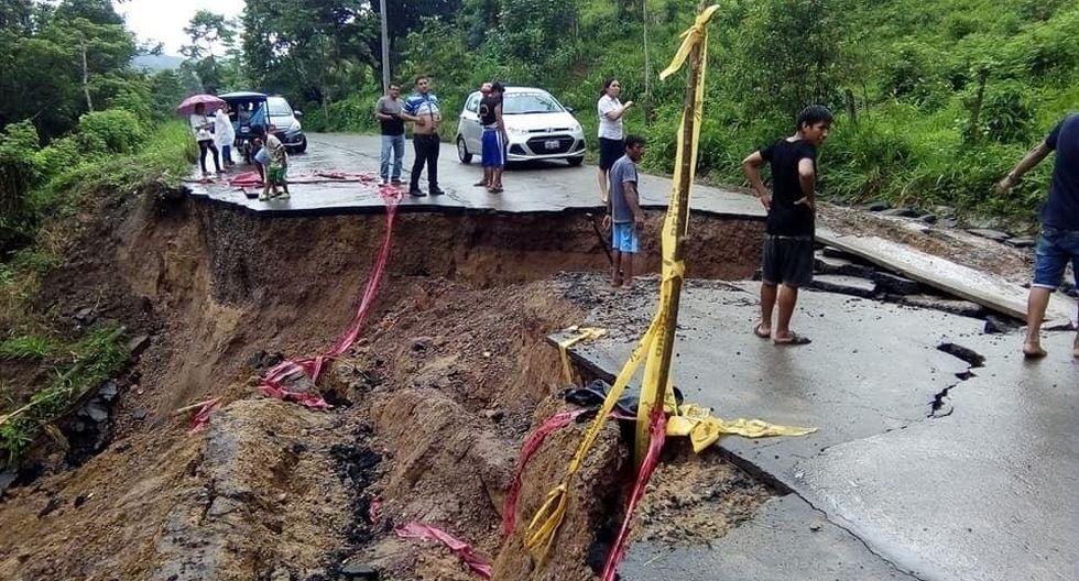 Este jueves, el paso vehicular en la referida vía se vio interrumpido debido al hundimiento de la pista a la altura del kilómetro 44, cerca de la localidad de San José de Sisa. (Foto: Dirección Regional de Transportes y Comunicaciones)