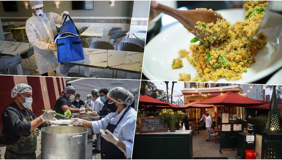 En cuanto a gastronomía peruana en 2020, los peruanos pedimos más delivery por necesidad, pero también aprendimos a cocinar, a ser solidarios con los más necesitados y, cuando reabrieron los restaurantes; aplicar las recomendaciones para la nueva normalidad. Fotos: AFP/ El Comercio.
