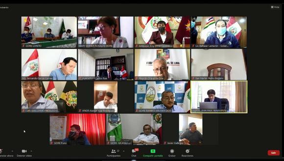 Gobernadores se reunieron de manera virtual, luego emitieron su comunicado. (Foto: Gore-Arequipa)