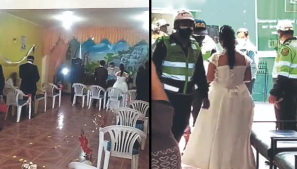 Huancayo: novios, pastor e invitados terminaron en la comisaría por realizar matrimonio evangélico (Foto: PNP)