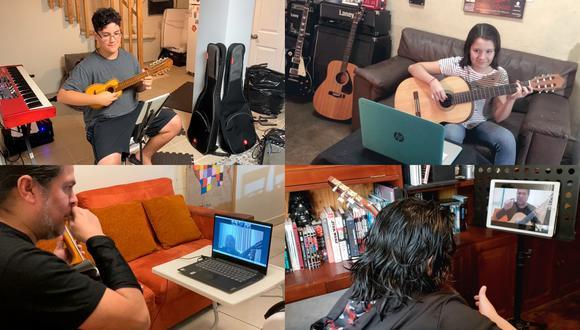 Algunos ejemplos de cómo los maestros de la plataforma transmiten sus clases de canto y música. Foto: Difusión.