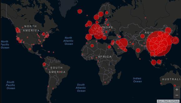 El avance del coronavirus en el mundo. (Imagen: Johns Hopkins University)