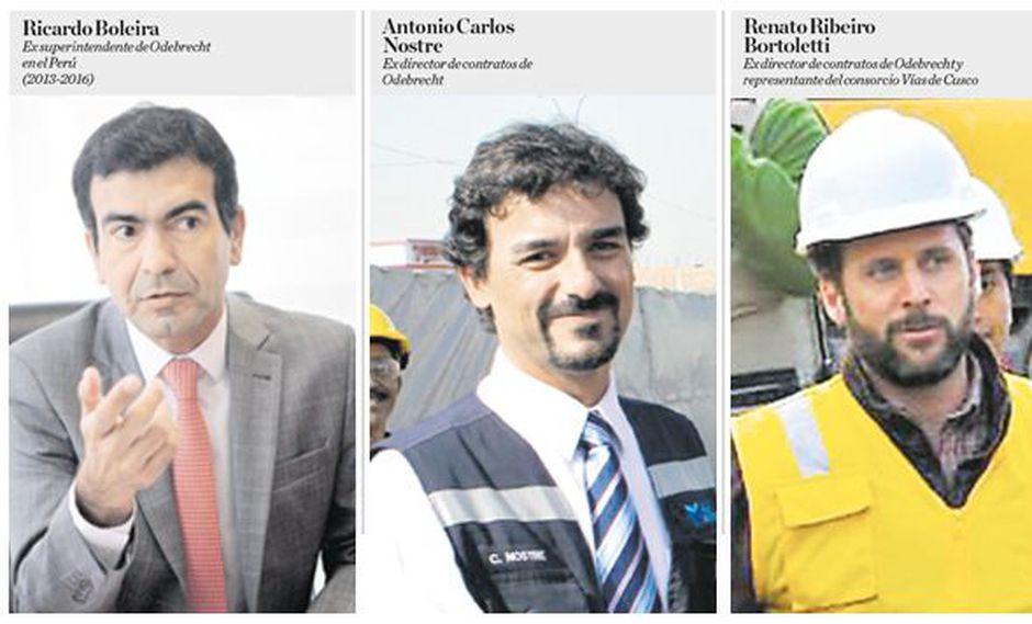 Fiscales interrogarán a los ex ejecutivos de Odebrecht en el Perú Ricardo Boleira, Antonio Nostre y Renato Ribeiro Bortoletti. (Fotos: El Comercio)