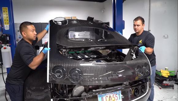 Los talleres oficiales de Bugatti realizan el cambio de aceite a sus vehículos por un precio de 21 mil dólares. (Fotos: YouTube).