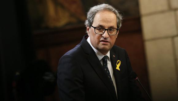 El Tribunal Supremo de España confirmó este lunes la inhabilitación por desobediencia del presidente catalán, Quim Torra. (Foto: PAU BARRENA / AFP).