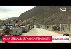 Cusco: Policía desbloquea 10 tramos interrumpidos del corredor minero