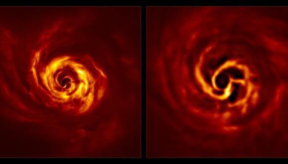 Imágenes del sistema AB Aurigae que muestran el disco a su alrededor. (Foto: ESO/Boccaletti et al.)