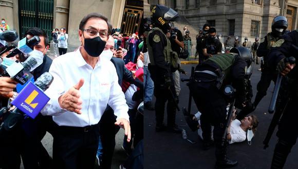 Expresidente Martín Vizcarra se pronunció sobre las protestas realizadas en contra de la vacancia en su contra y asunción de Manuel Merino. (Fotos: Hugo Curotto-César Bueno /@photo.gec)