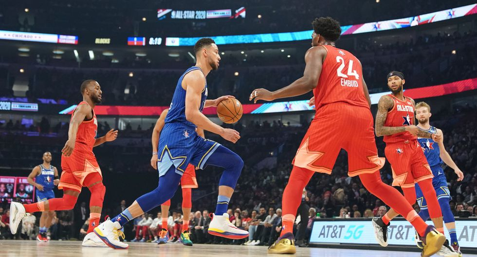 Feb 16, 2020; Chicago, Illinois, USA; Team LeBron guard Ben Simmons of the Philadelphia 76ers drives against Team Giannis center Joel Embiid of the Philadelphia 76ers in the first half during the 2020 NBA All Star Game at United Center. Mandatory Credit: Kyle Terada-USA TODAY Sports
