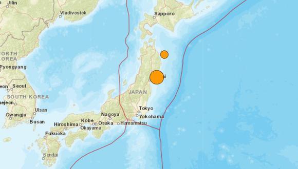 El terremoto alcanzó en Miyagi el nivel 5 superior en la escala nipona, de un máximo de 7 y más centrada en las zonas afectadas que en la intensidad del temblor. (USGS/Captura).