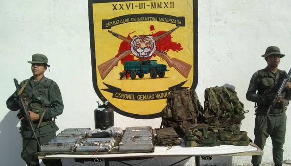 La Fuerza Armada Nacional Bolivariana (FANB) incautó al menos 40 kilogramos de explosivos en un sector del estado venezolano de Táchira. (Foto: Twitter: @FreddyBernal).