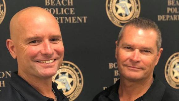 El oficial Eric Reynolds y el sargento Dave Stull no solo comparten el respeto por la ley, sino los mismos genes. (Foto: Facebook Boynton Beach Police Department)