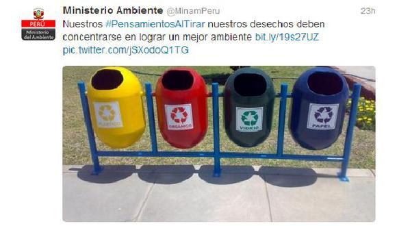 #PensamientosAlTirar, el hashtag del Ministerio del Ambiente