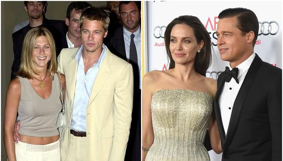 Brad Pitt y Jennifer Aniston a inicios del 2000 (izq.) Angelina Jolie junto a Pitt. (Foto: Agencias)