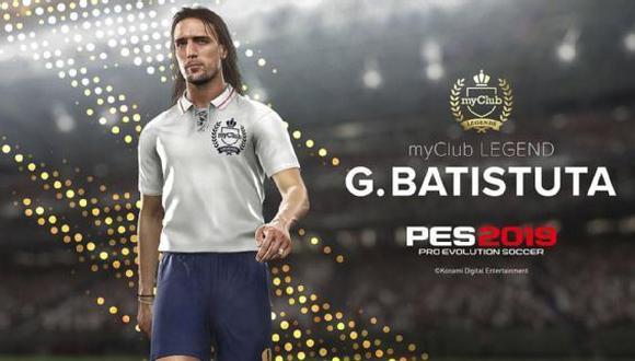 El ex goleador argentino Gabriel Batistuta fue confirmado por Konami como embajador de la marca y estará presente en la siguiente edición del Pro Evolution Soccer. (Foto: Konami)