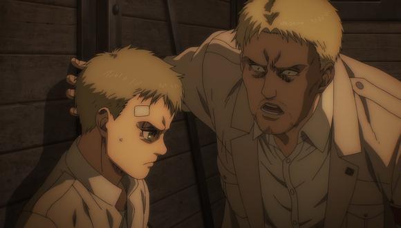 """Falco Grice y Reiner Braun en uno de los momentos más tensos de """"Attack on Titan"""" 4x02. Foto: MAPPA."""