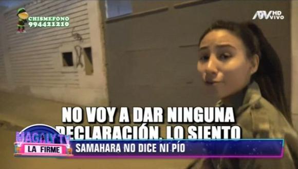 Samahara Lobatón, hija de Melissa Klug, fue interceptada por reportero y así reaccionó. (Imagen: ATV)