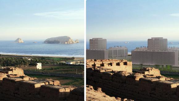 El Colegio de Arquitectos-regional Lima comparó cómo se ve ahora el mar y -mediante una simulación- cómo se vería en el futuro con el RIZ de Lurín aprobado. (Foto: Colegio de Arquitectos-regional Lima)