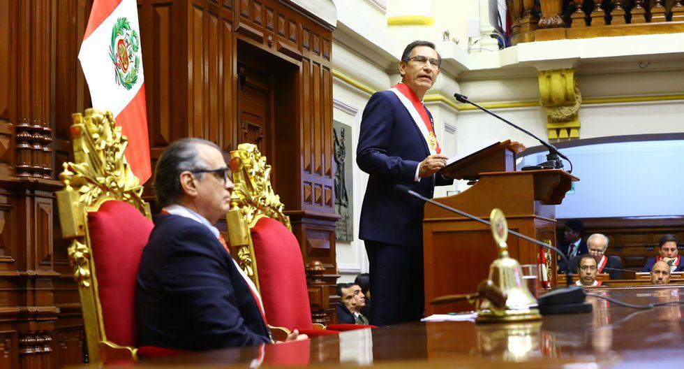 El presidente Martín Vizcarra dio este domingo su mensaje a la nación por Fiestas Patrias desde el pleno del Congreso. (Foto: Congreso)