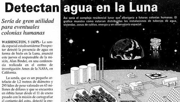 La noticia en la parte alta de la portada del diario El Comercio, en su edición del 6 de marzo de 1998. Agua en hielo y hasta se especulaba sobre implementar vida en la Luna. (Foto-titular: GEC Archivo Histórico)